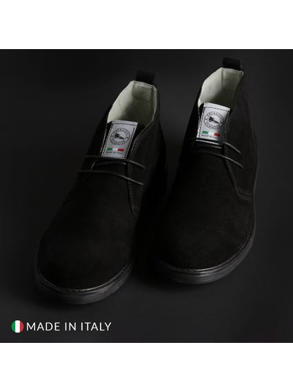 Black Suede Mid Top Lace Up Shoes