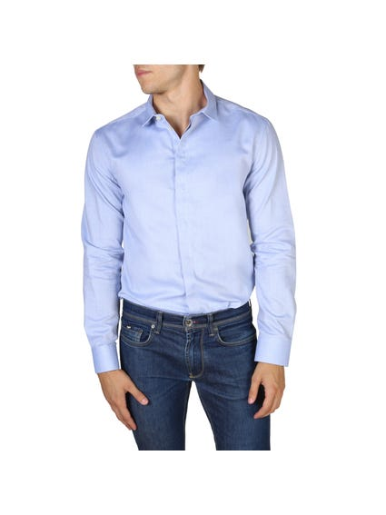 Light Blue Concealed Buttons Long Sleeves Shirt