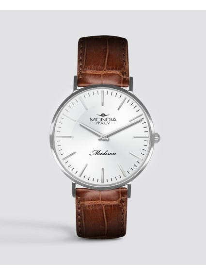 Red Leather Strap Analog Watch