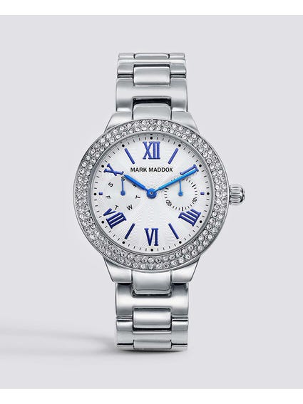 Silver Stone Bezel Stainless Steel Watch
