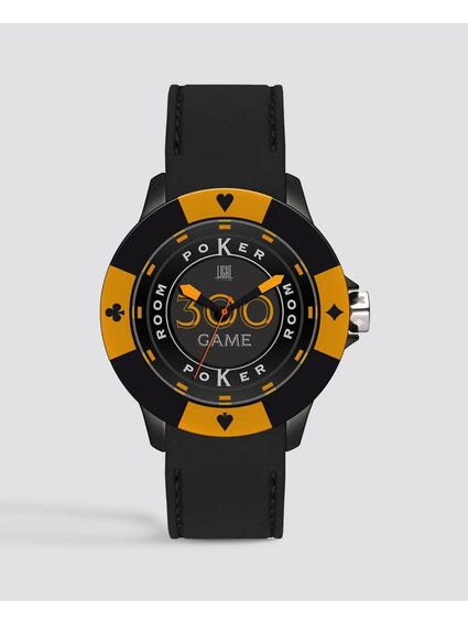 Black Yellow Silicone Poker Quartz Watch
