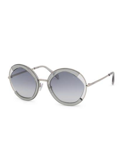 Grey Metallic Round Frame Sunglasses
