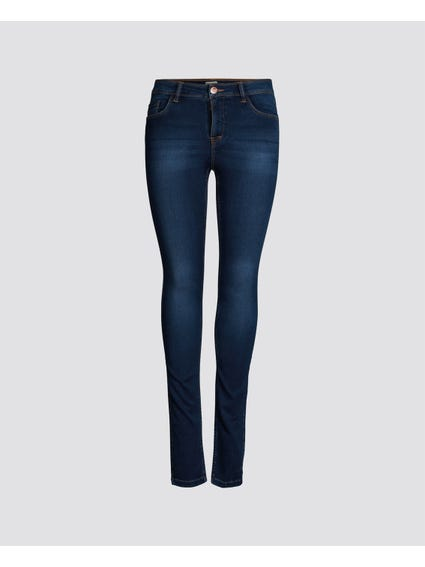 Blue Denim Mid Wash Skinny Jeans
