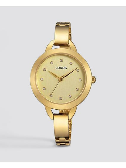 Gold Tone Stainless Steel Analog Watch