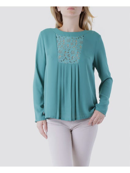 Green Button Back Lace Top