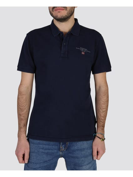Navy Elbas Short Sleeves Polo