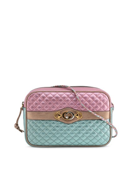 Pink Metallic Quilted Crossbody Bag