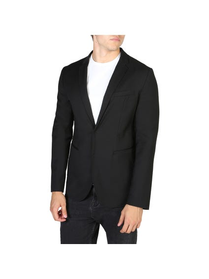 Black Conceal Button Blazers