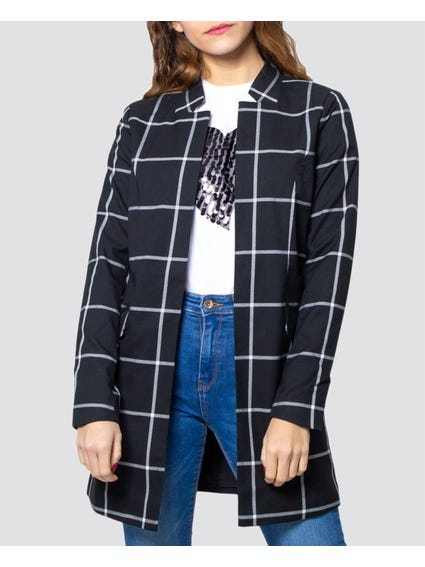 Lined Pattern Open Front Blazer