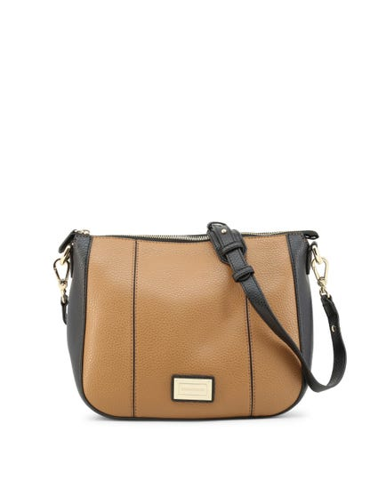 Two Tone Zip Leather Shoulder Bag