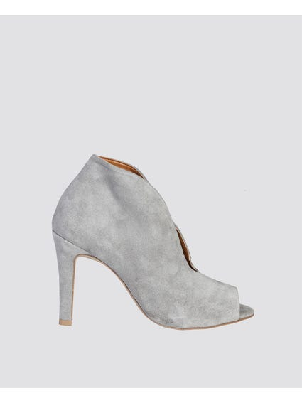 Grey Marlene Open Toe Ankle Boots