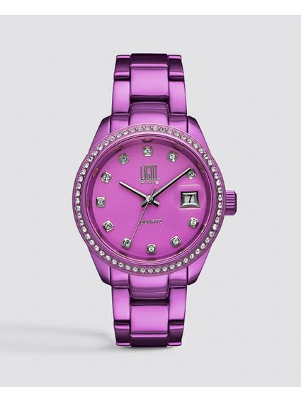 Purple Metal Strap Analog Watch
