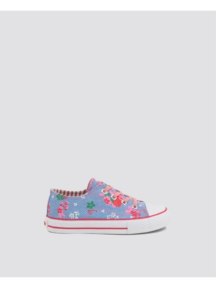 Blue Floral Kid Sneakers
