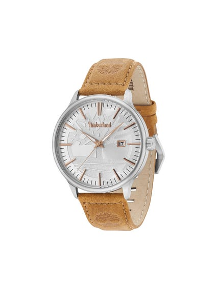 Leather Strap Gray Dial Analog Watch