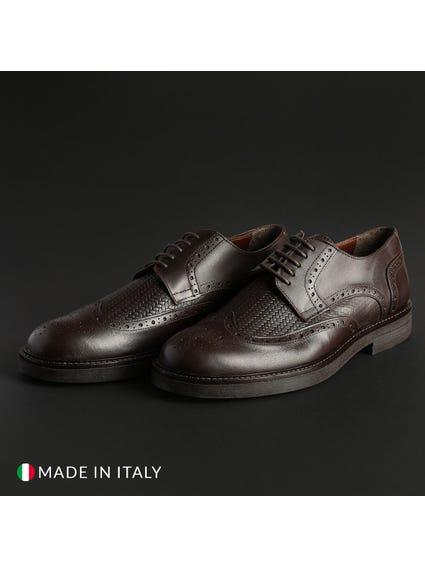Leather Woven Pattern Lace Shoes