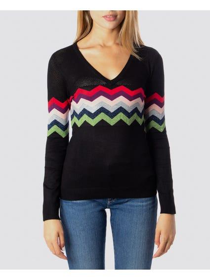 Black Geometric Print Knitwear