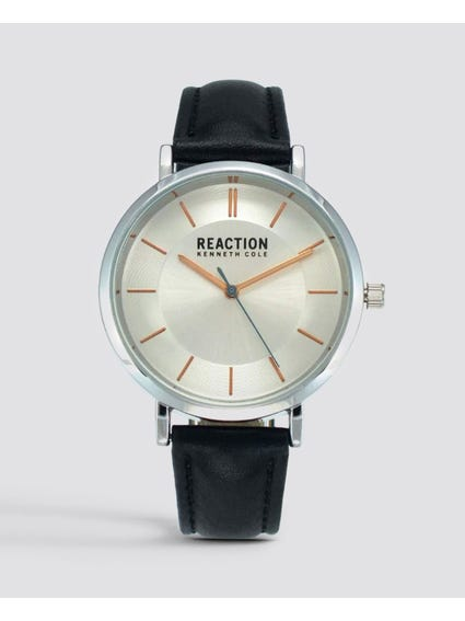 Silver Dial Analog Leather Watch