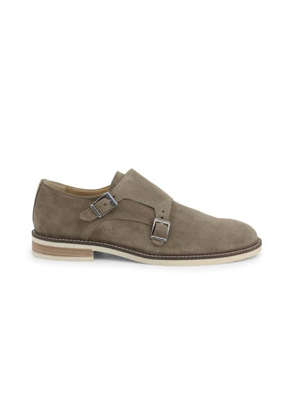 Suede Buckle Slip On Monk Shoes