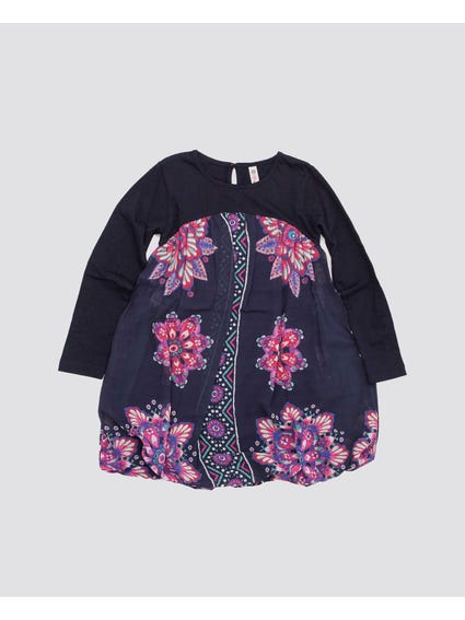 Blue Floral Printed Kids Dress