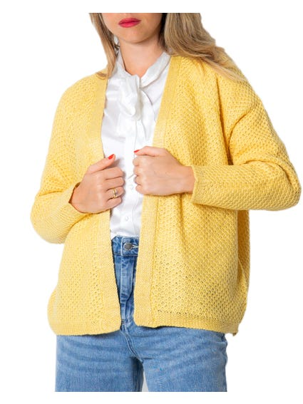 Yellow Long Sleeve Knitted Cardigan