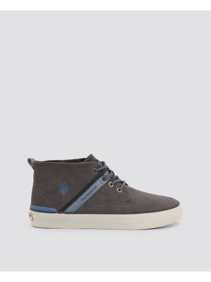 Grey Anson Leather High Top Sneakers