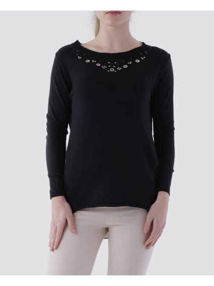Solid Color Eyelets Detail Knit Top