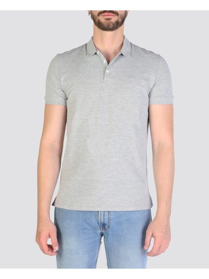 Grey Basic Logo  Polo  Shirt