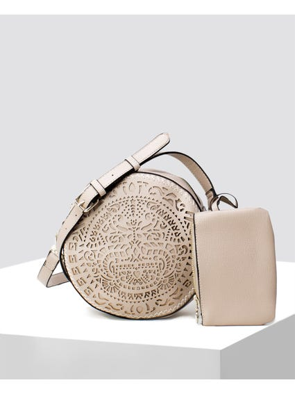 Beige Tribal Crossbody Bag