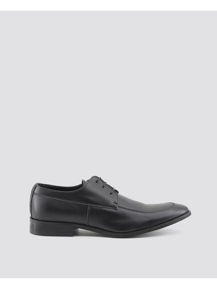 Black Leonce Apron Toe Cap Lace Up Shoes