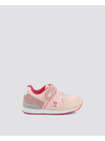 Pink Velcro Kid Sneakers