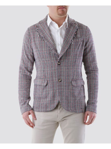 Tattered Lapel Collar Checkered Blazer