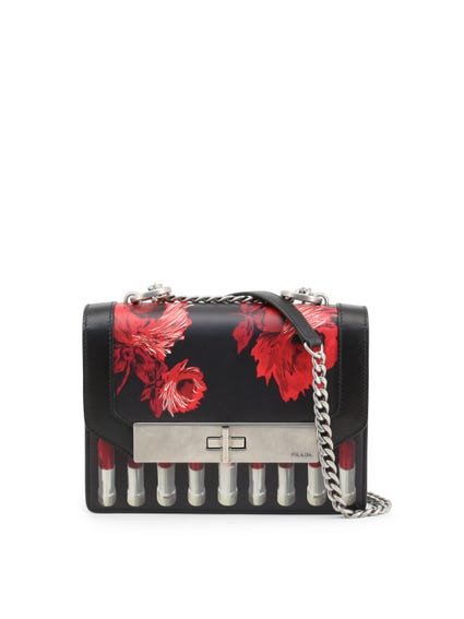 Floral Flap City Leather Crossbody Bag