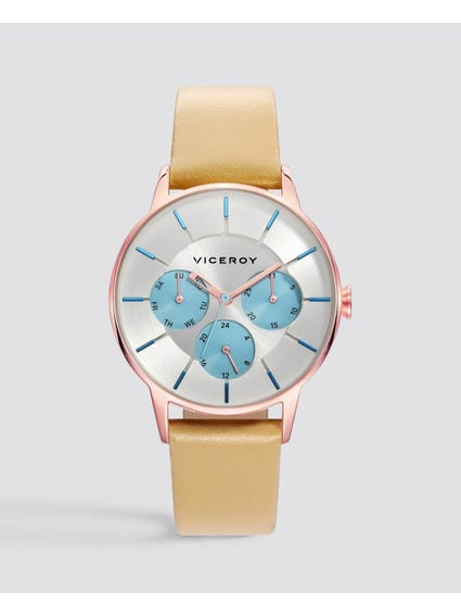 Colours Silver Dial Leather Watch