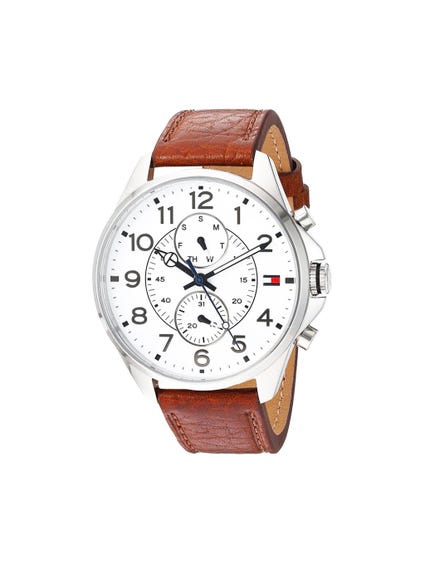Leather White Dial Watch