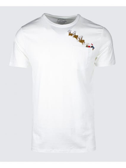 White Graphic Print Pocket T-shirt
