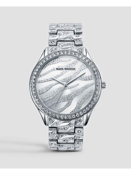 Silver All Over Stones Analog Watch