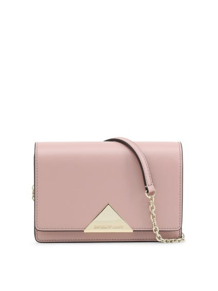 Pink Leather Magnetic Crossbody Bag
