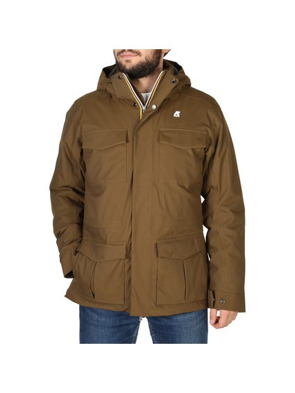 Brown Hooded Pocket Long Sleeve Jacket