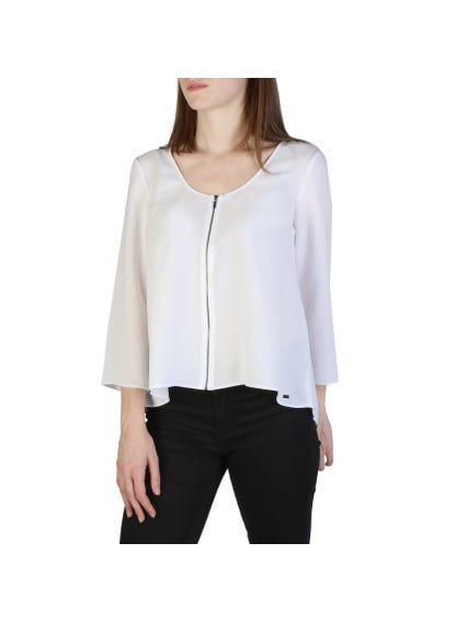 Wide Neck Zipper Long Sleeve Shirt
