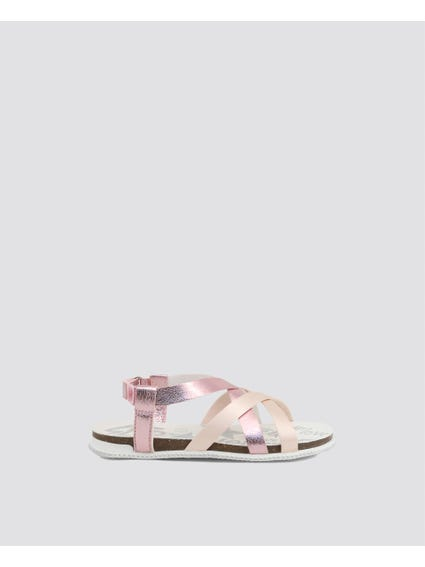Pink Strappy Velcro Kids Sandals