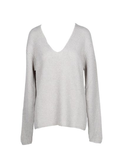 Beige V Neck  Pattern Knitwear