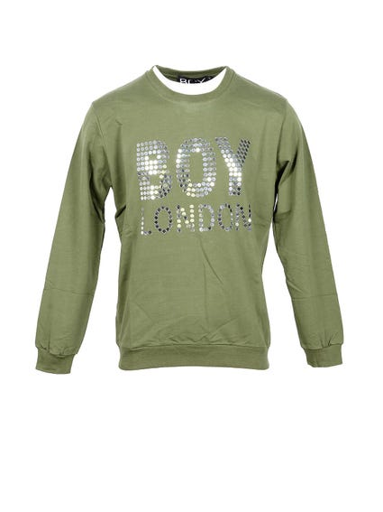 Green Long Sleeve Dots Print Sweatshirt
