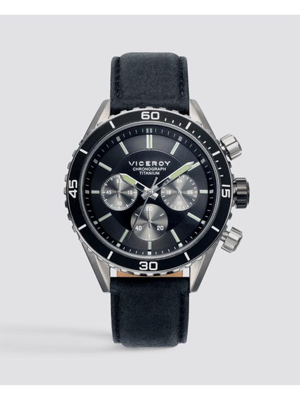 Marine Black Dial Leather Watch