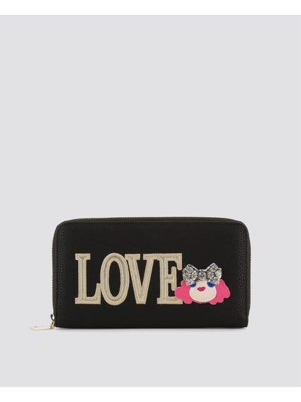 Black Love Embellished Wallet