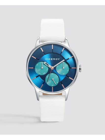 Colours Blue Dial Leather Watch