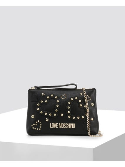 Black Heart Studs Clutch Bag