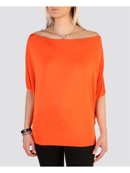 Orange Trendy Wide Neckline Tops