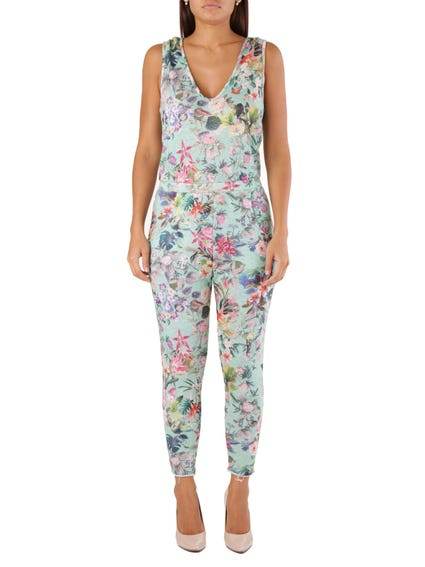 V Neck Sleeveless Floral Jumpsuit