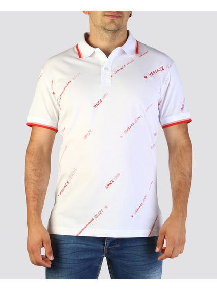 White All-Over Print Polo Shirt