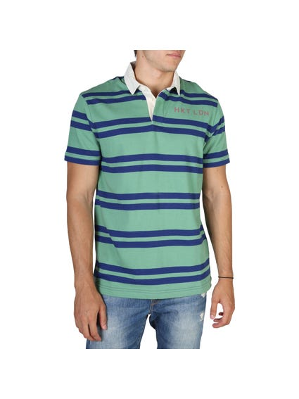 Striped Blue and Green Polo Shirt